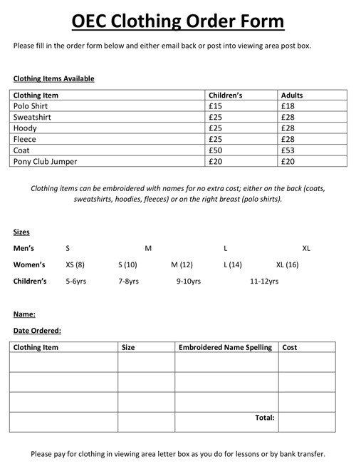 Download Clothing Order Form